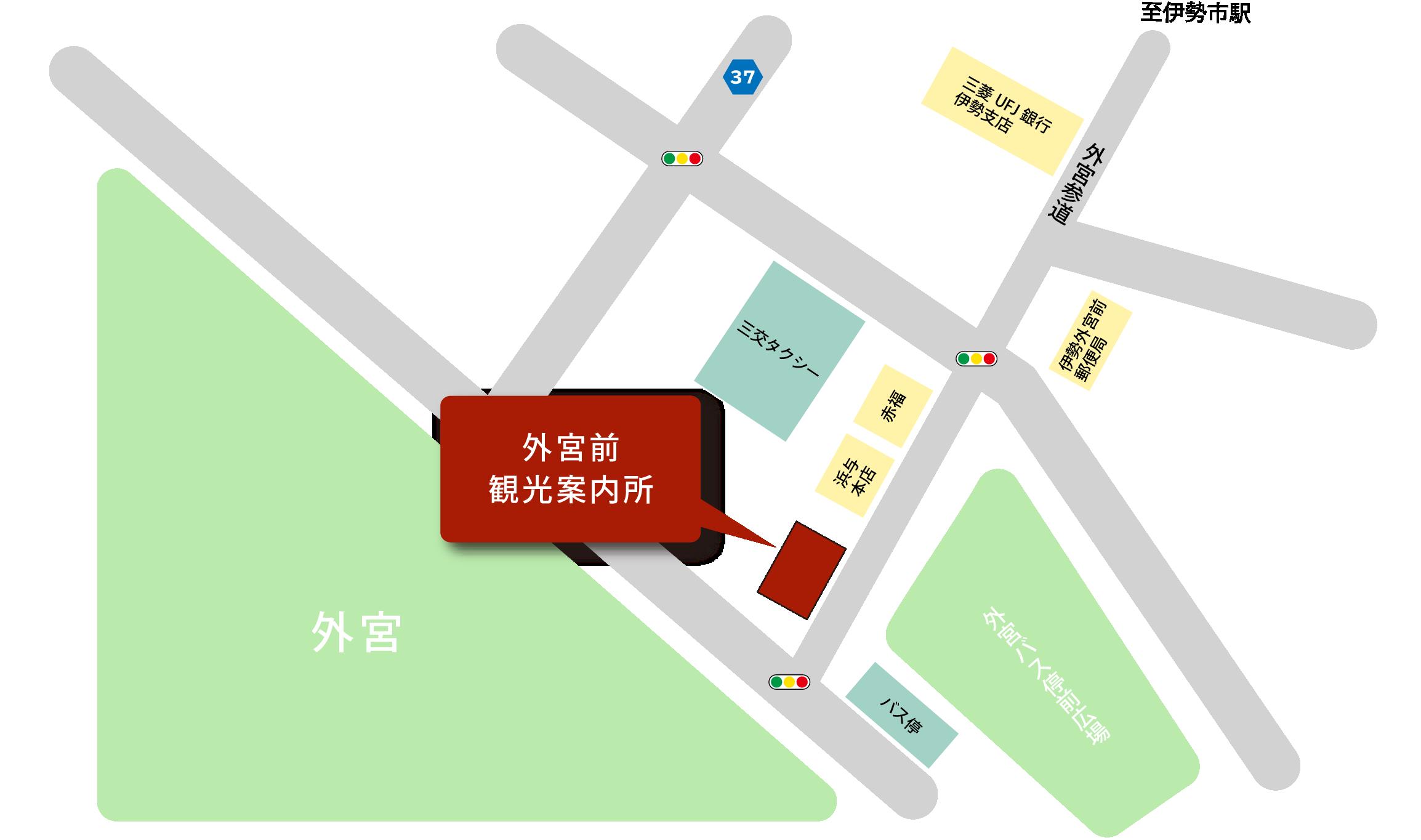 Geku-mae旅遊諮詢中心周圍的地圖