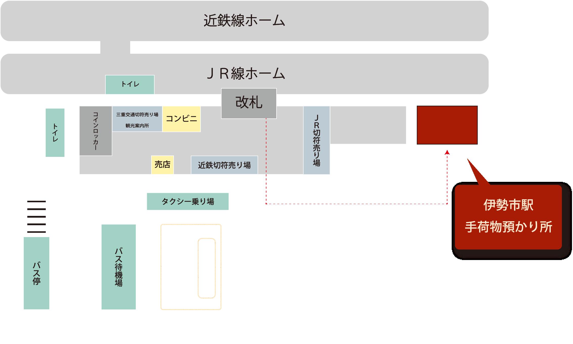 伊勢志站行李寄存處周圍的地圖